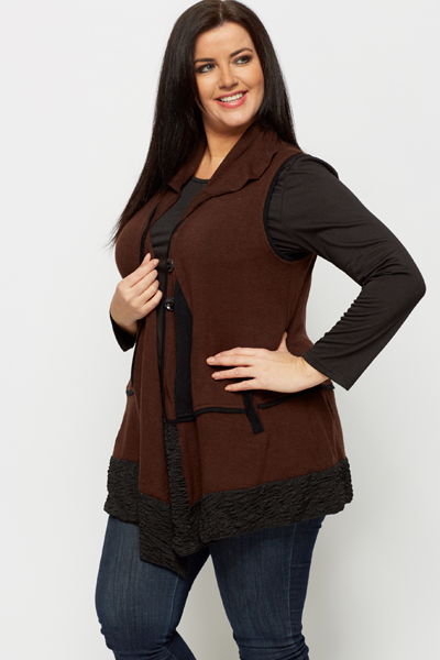 2 in 1 Sheered Trim Cardigan