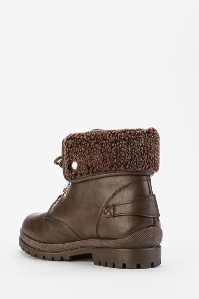 Buckled Faux Fur Trim Boots