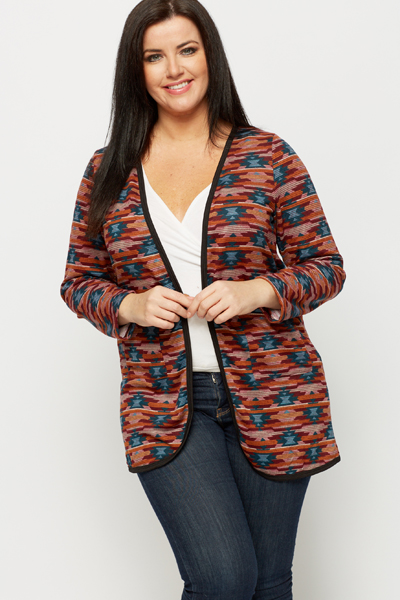 Fleeced Aztec Open Front Cardigan