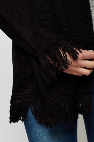Fringed Open Front Cardigan