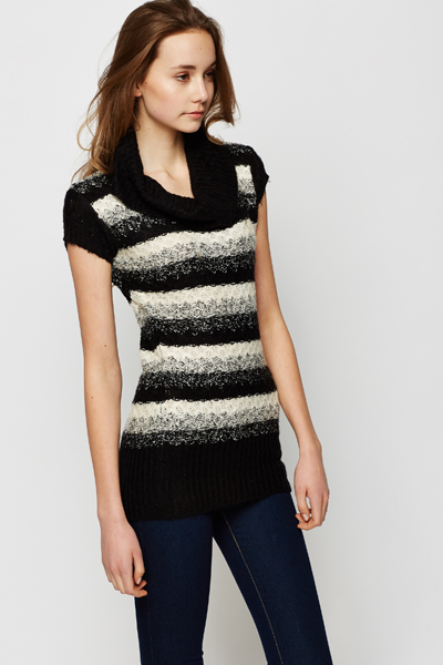 Roll Neck Speckle Stripe Jumper Dress