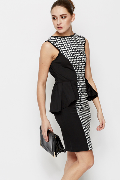 Dogtooth Print Peplum Dress