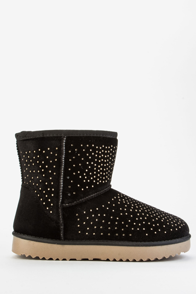 Encrusted Snug Ankle Boots