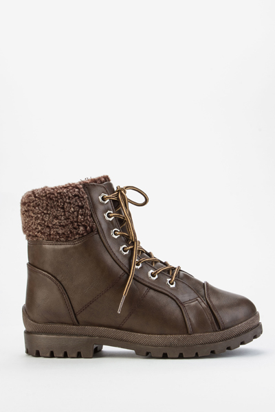 Faux Fur Trim Workman Boots