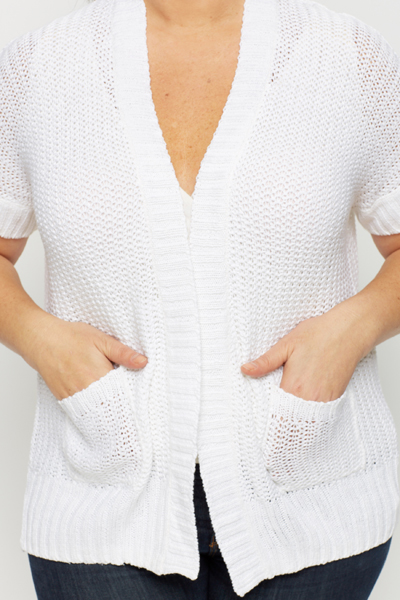 Open Knit Short Sleeve Cardigan