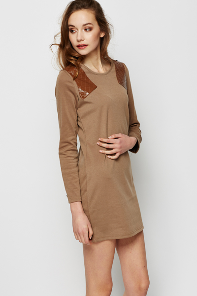 PU Quilted Shoulder Dress
