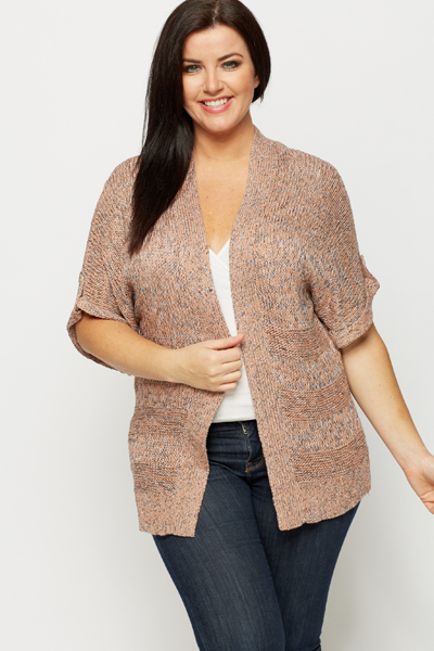 Button Imitation Sleeve Speckle Cardigan