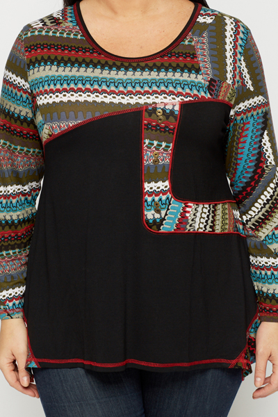 Multi Graphic Trim Tunic