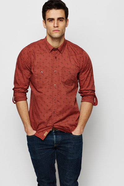 Paisley Print Dark Red Shirt