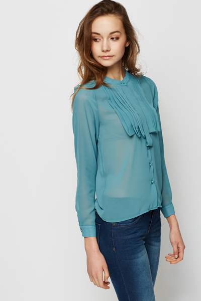 Pleated Neckline Aqua Blouse