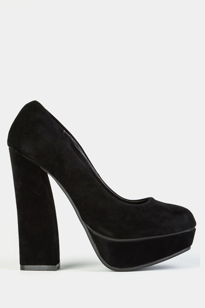 Velvet Block Heel Shoes