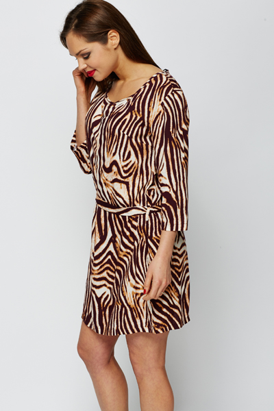 Animal Print Tie-Up Waist Dress