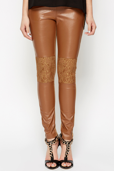 Lace PU Panel Brown Treggings