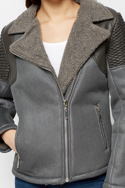 Faux Fur Collar Grey Perforated Biker Jacket