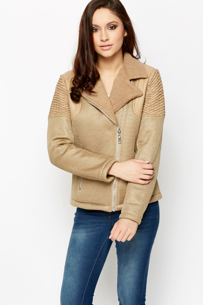 Faux Fur Collar Khaki Perforated Jacket