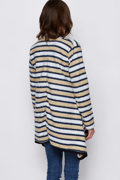 Fleece Stripe Poncho Cardigan