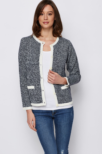 Speckled Button Front Cardigan