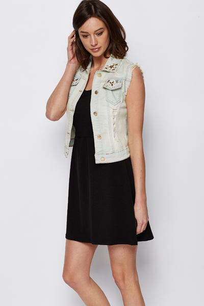 Star Embellished Denim Gilet
