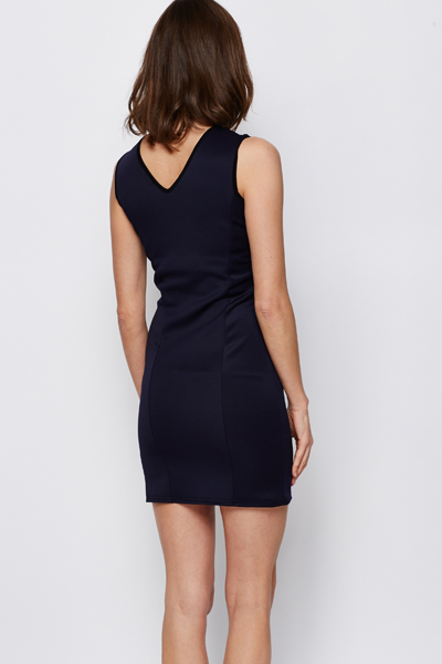 Two Tone Embossed Bodycon Dress