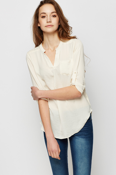 200d47e36700b V-Neck Cream Blouse - Just £5