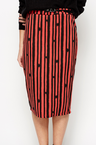 Graphic Stripe Belted Skirt