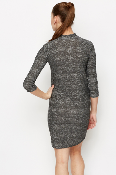 High Neck Marbled Dress