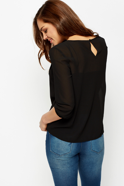 Large Bow Chiffon Blouse