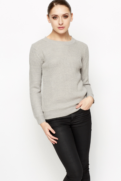 Ribbed Casual Knit Jumper