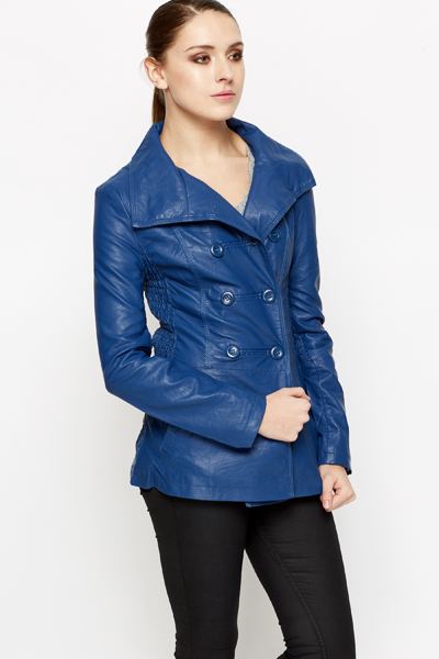 Ruched Side Royal Blue PU Jacket