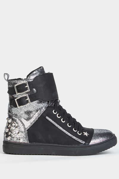 Contrast Metallic Studded Star Hi-Top Trainers