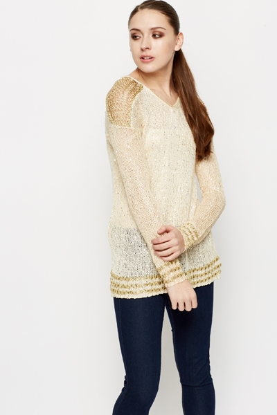 Metallic Trim Knit Tunic