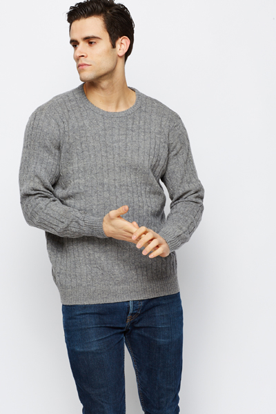 Wool Blend Cable Knit Jumper