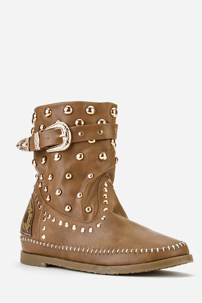 Buckle Side Studded Wedge Boots