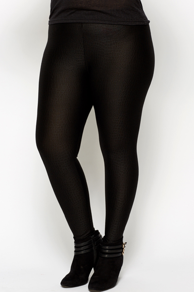 Mock Croc Embossed Black Leggings