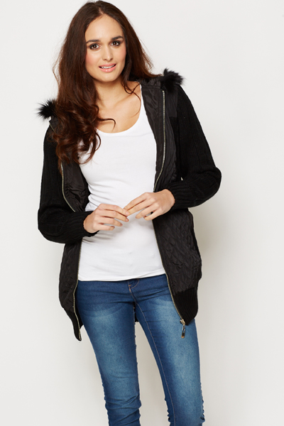 Padded Contrast Faux Fur Trim Hooded Jacket