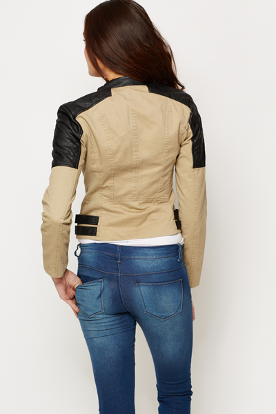 Quilted Shoulder Contrast Biker Style Jacket