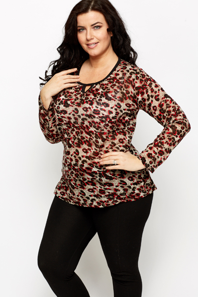 Cut Out V-Neck Leopard Print Tunic