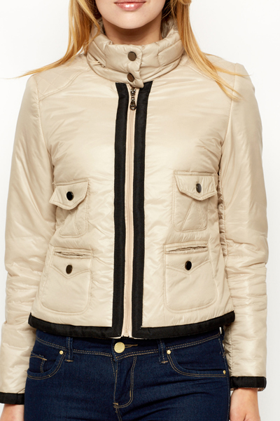 Contrast Trim Padded Jacket