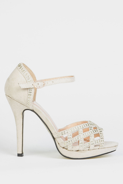 Diamante Cross Cut-out Sandals