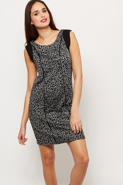 7fc9a665bfef Leopard Print Contrast Dress - Grey Black - Just £5