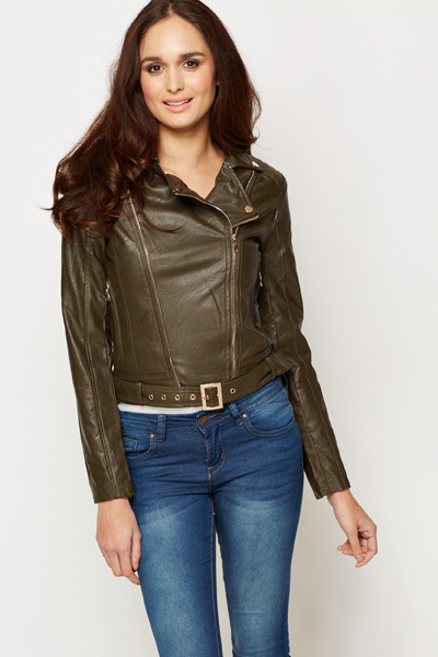 Quilted Shoulder Biker Style Jacket