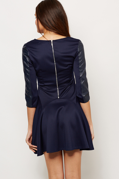 Contrast PU Skater Dress