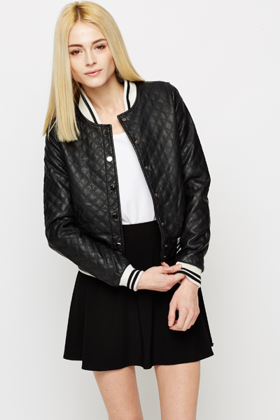 Faux Leather Quilted Bomber Jacket Just 5