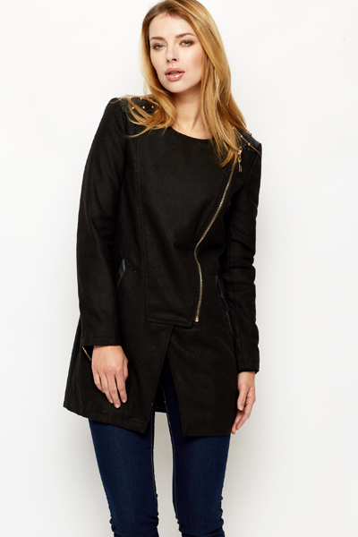 Studded Faux Leather Trim Coat