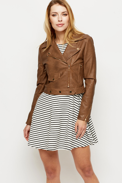 Zipped Faux Leather Biker Jacket