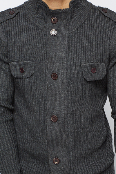 Buttoned Zip Front Cardigan