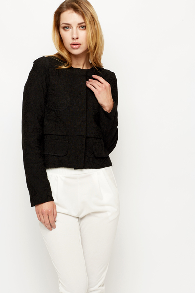 Crochet Overlay Black Jacket