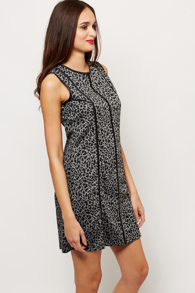Leopard Print Stripe Dress