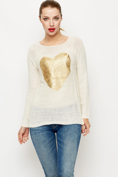Loose Knit Heart Print Pullover