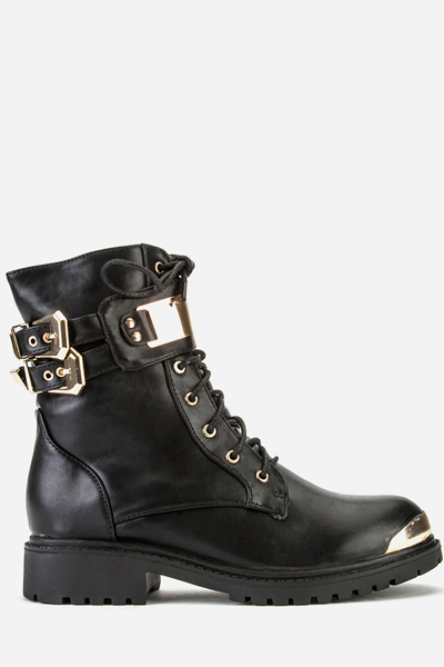 Buckle Gold Trim Biker Boots